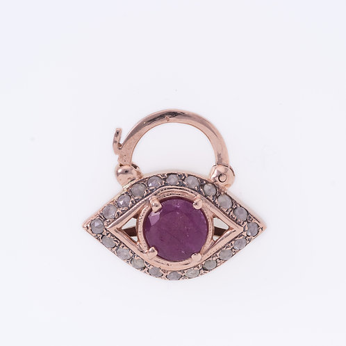 Eye Ruby and Rose Cut Diamonds Padlock