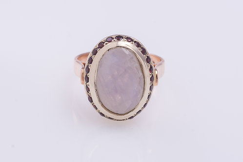 Oval Moonstone and Garnet Cocktail Ring