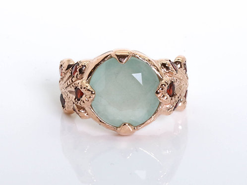 Vintage Princess Ring with Aquamarine and Garnet Stones