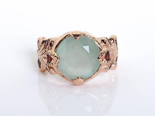 Vintage Princess Ring with Aquamarine and Garnet Stones