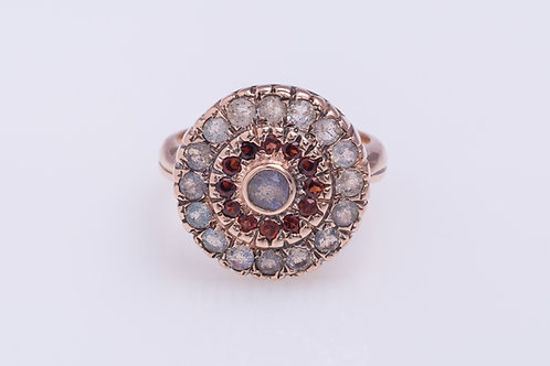 Round Labradorite and Garnet Cocktail Ring