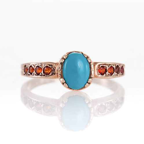 Turquoise Ring with Garnet