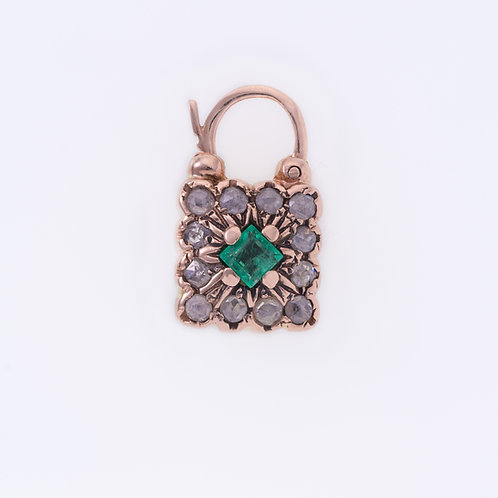 Square Emerald and Rose Cut Diamonds Padlock