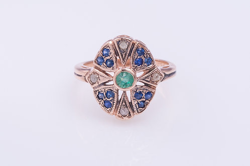 3-Gems Ring with Emerald, Sapphire and Rose-Cut Diamonds