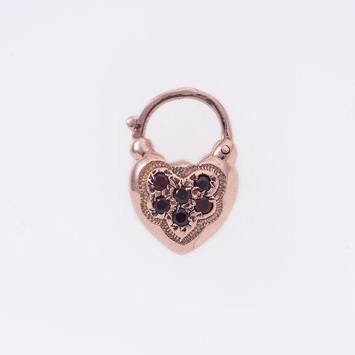 6 Garnet stones Heart Padlock