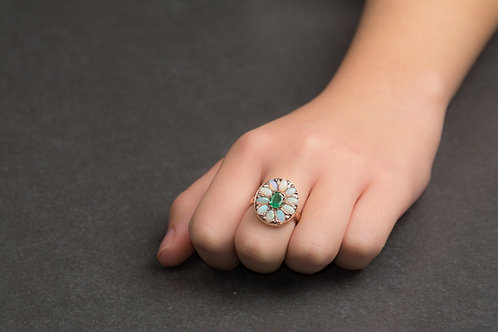 Emerald and Opal Flower Ring