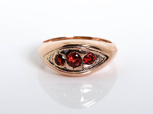 3 Garnet Stones Oval Shaped Ring
