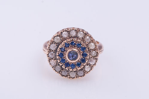 Round Sapphire and Rose Cut Diamonds Statement Ring