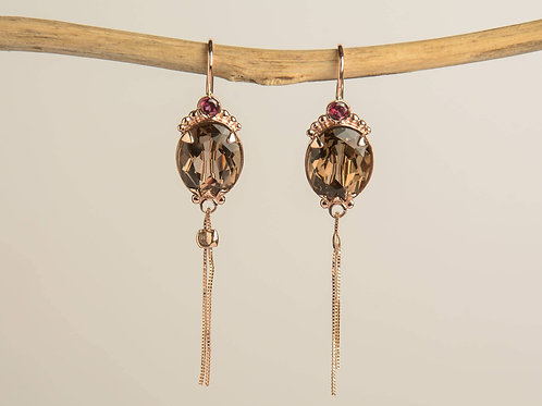 Tassel Gold Drop Earrings with Topaz and Garnet