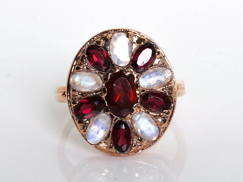 Oval Mandala Moonstone and Garnet Ring