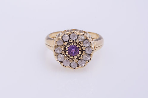Amethyst and Rose Cut Diamonds Flower