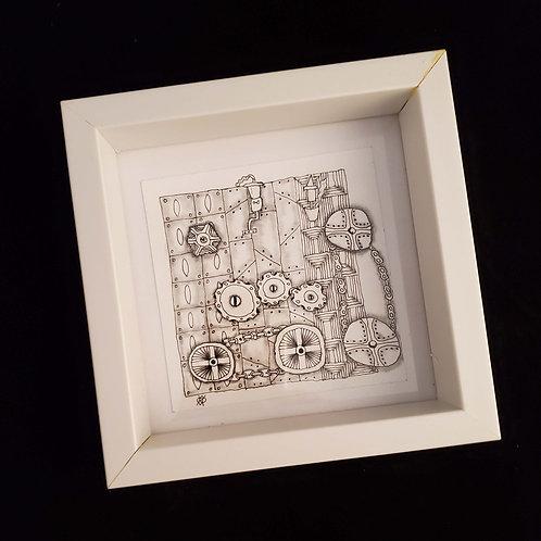 Shadowbox with zentangle inspired art design