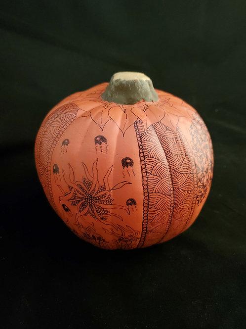Dried Pumpkin w/zentangle inspired art