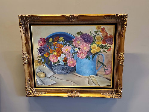 Flowers in Blue Pitcher