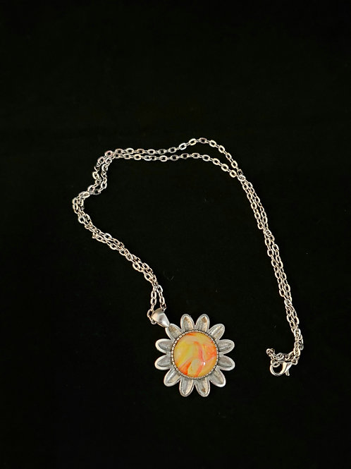 Sunflower Fluid Acrylic Necklace