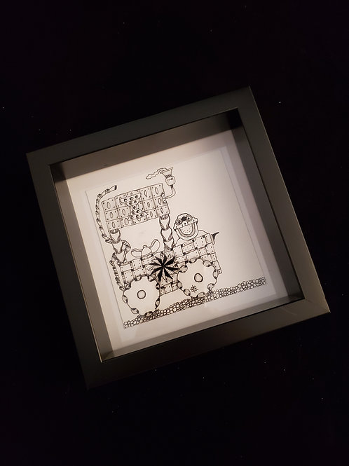 Shadowbox with zentangle inspired art design