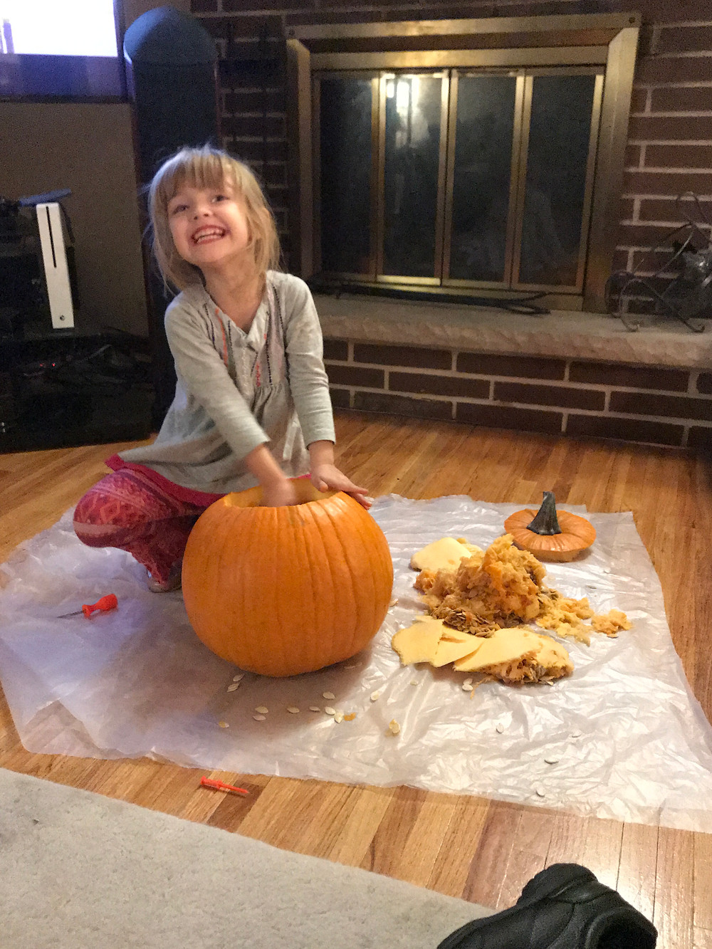 Penny and I carving Pumpkins