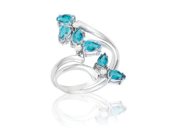 Anel Prata 925 e Topázio Azul