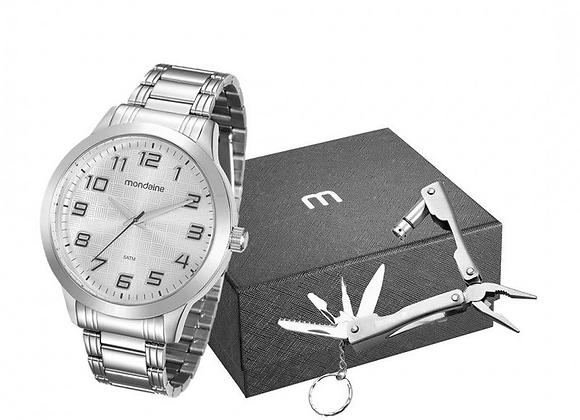 Relógio Mondaine,  Caixa em metal e pulseira de aço