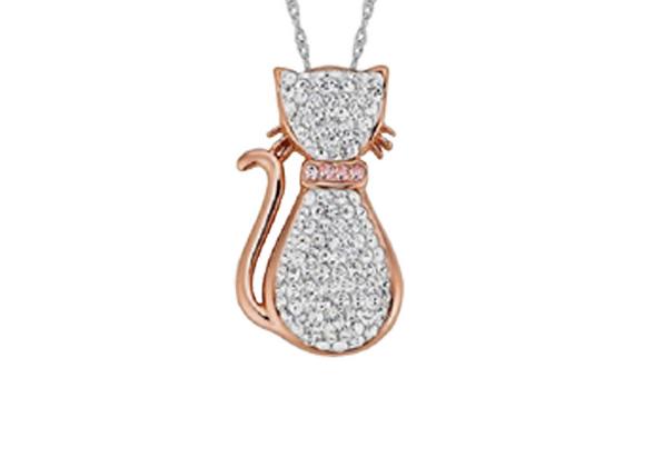 Pingente gato em prata 925 folheado ouro rose