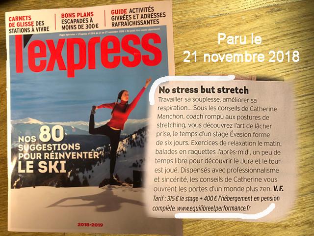L'Express parle des stages stretching et raquette Jura