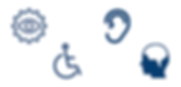 Image icons representing visual, auditory, mobility and cognitive disabilities