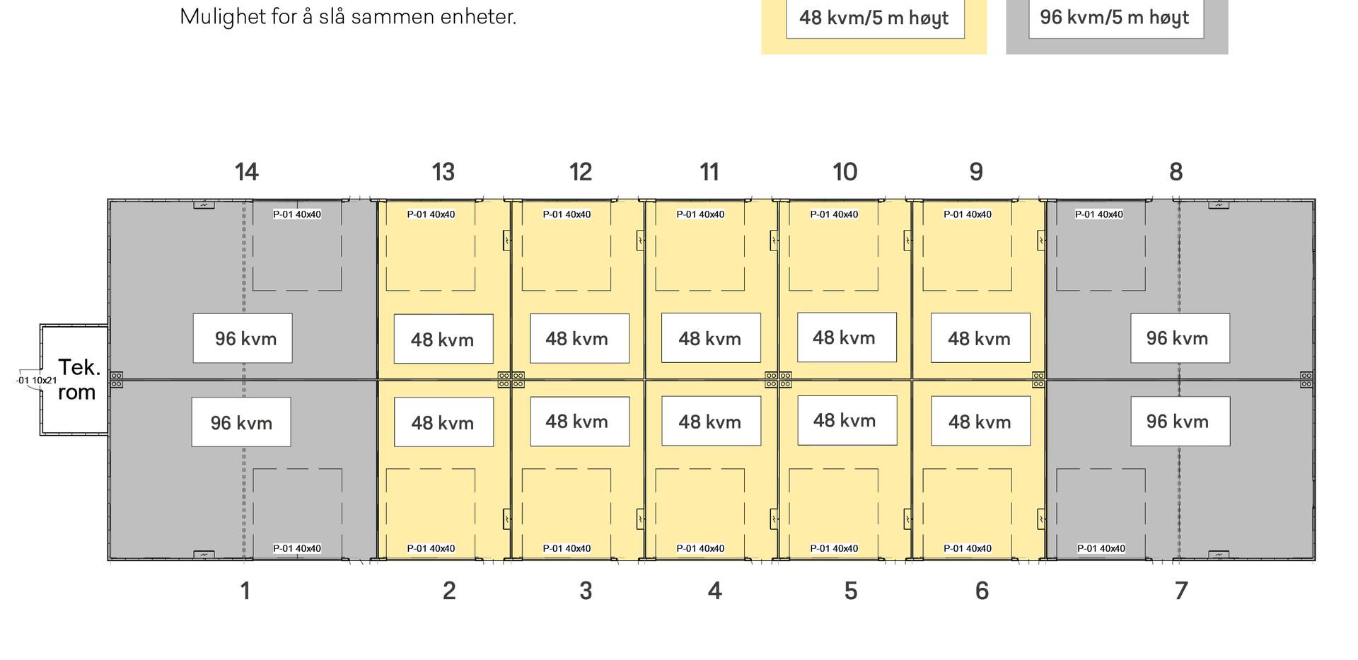 Plantegning 48 og 96 kvm