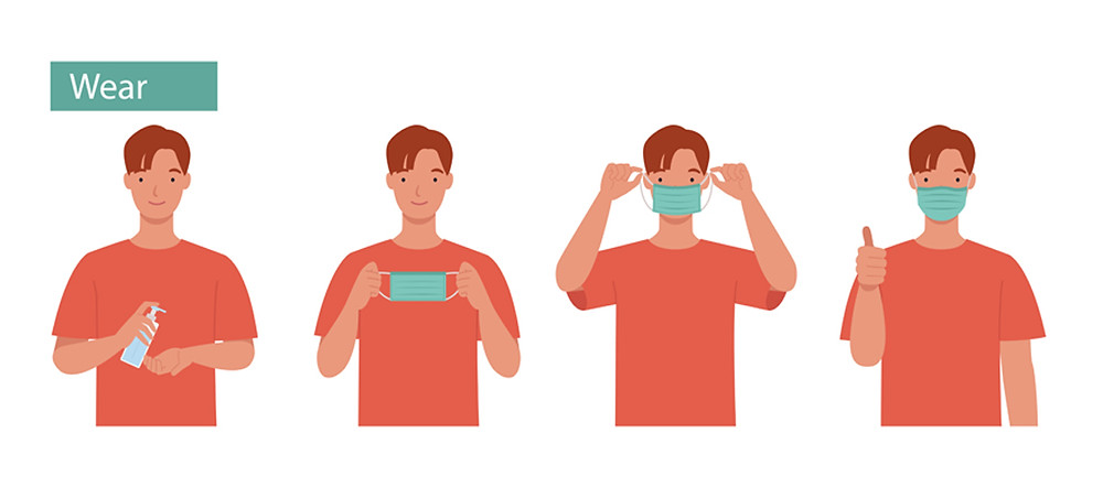 Instructions how to wear a fabric face mask