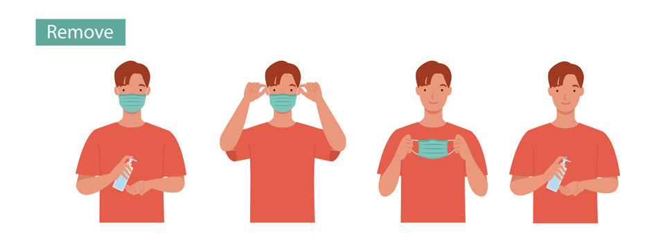Instructions how to remove a fabric face mask