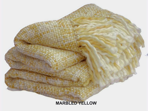 MARBLED YELLOW BASKETWEAVE PLUSH KNIT THROW