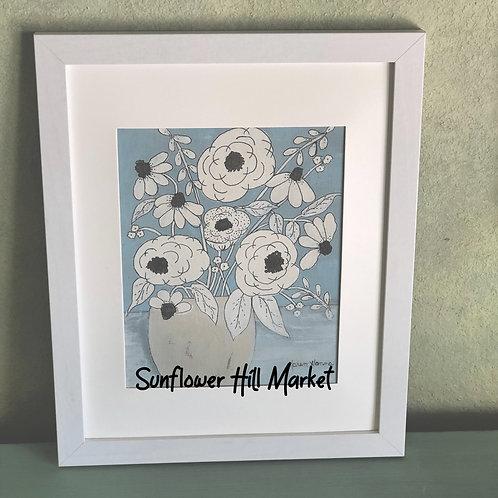 Neutral Floral Series #1 blue