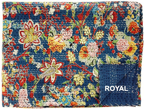 HAND STITCHED KANTHA QUILT/COVERLET