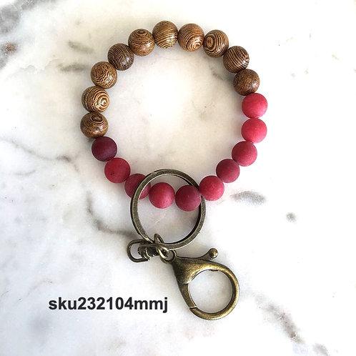 Red Jade & Wedge Wood Wrislet Keychain