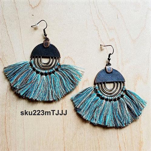 Denim Blue Fan Tassel Earrings