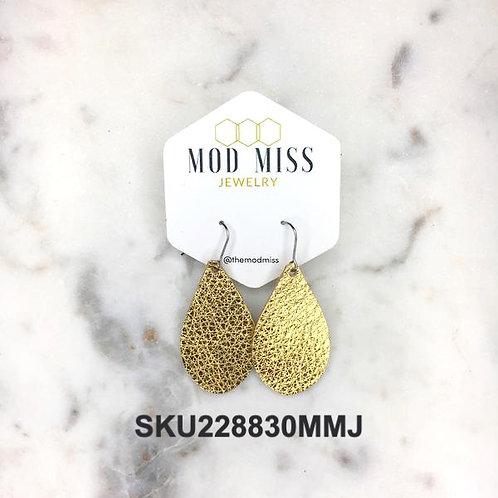 Metallic Gold Leather Teardrop Earrings