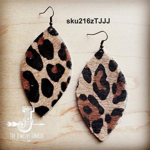 Leather Oval Earrings in Leopard Print Hair on Hide
