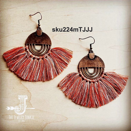 Terra Cotta Fan Tassel Earrings