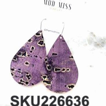Purple Wildwood Leather  Teardrop Earrings