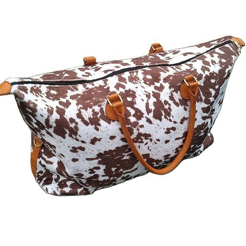 Brown Cow Print Weekender Bag