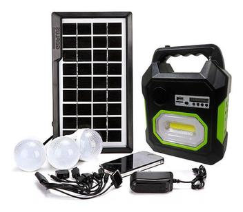 Kit Luminária Solar Placa Bluetooth Emergência Radio FM USB Micro SD Lanterna