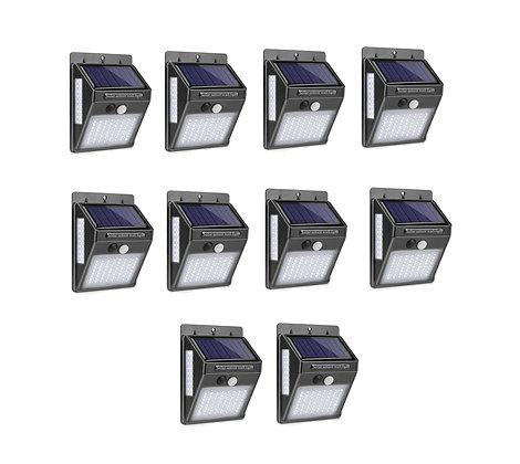 Kit 10 Luz Solar 100 LED Movida Energia Solar Ao Ar Livre Com Sensor