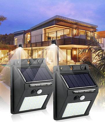 Luminária Energia Solar 30 LEDs Parede Com Sensor de Movimento