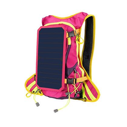 Mochila Rosa 6 W 6 V Energia Solar USB Para Carregar Telefone Móvel Ao Ar Livre
