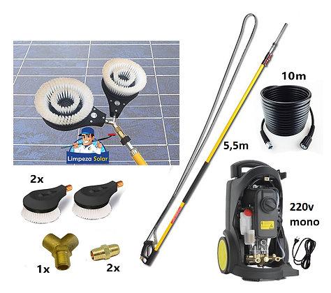 Kit Limpeza de Painel Solar 5,5m c/ 2x  Escovas Giratórias Limpeza Profissional