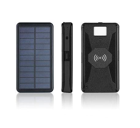 Carregador Solar Sem Fio 20000mAh LED Banco Energia À Prova D' Água