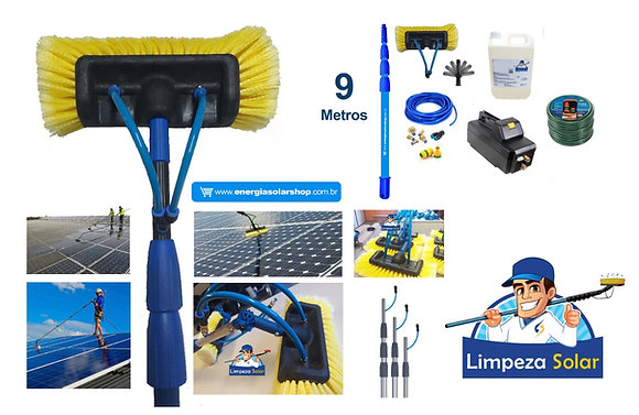 Kit Limpeza Solar Ajustável 2,8m a 9m Completo c/ Máquina + Dosador Integrado
