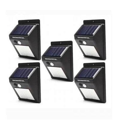 Kit 5 Luminárias Solar De Parede 30 Leds Com Sensor Presença 6w