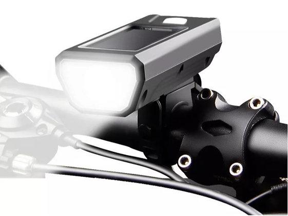 Luz Solar Frente de Bicicleta + Buzina 140db 1200 mAh Lítio Prova D'Água