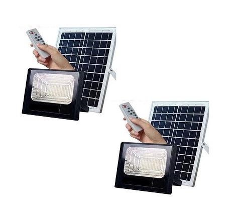 Kit 2 Und Refletor 100w Led Luminária Sensor Controle Remoto Bateria Integrada
