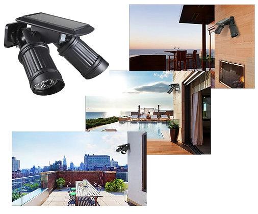 Holofote LED Solar Sensor Ao Ar Livre Iluminação Jardim Duplo Holofote